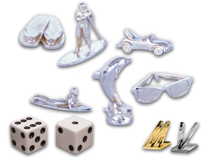 Custom Zinc & Nickel Plated Game Pieces, Metallic Foil Game Pieces and Dice