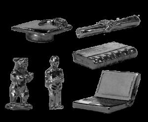 Custom Zinc & Nickel Plated Game Pieces: Laptop, Hiker, Bear, Diploma, Scroll, Notebook, Graduation Cap, Hat
