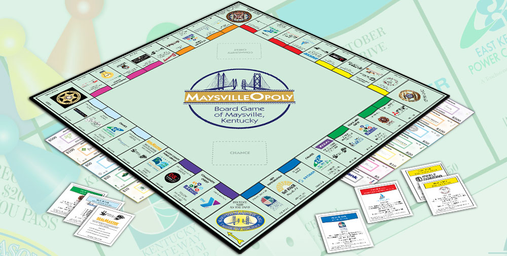 Custom Monopoly Game Manufacturer Publisher: Maysville-opoly Monopoly game